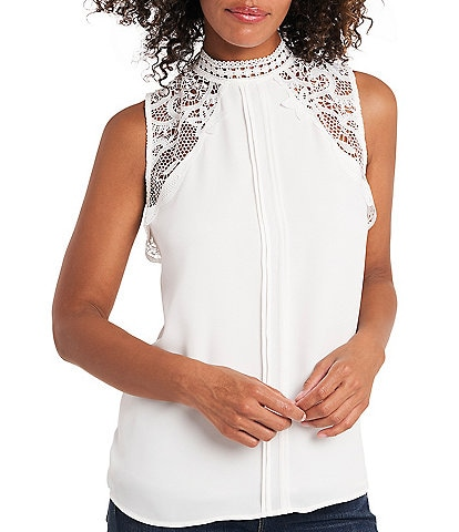 Vince Camuto Sleeveless Lace Collar Pleat Front Blouse