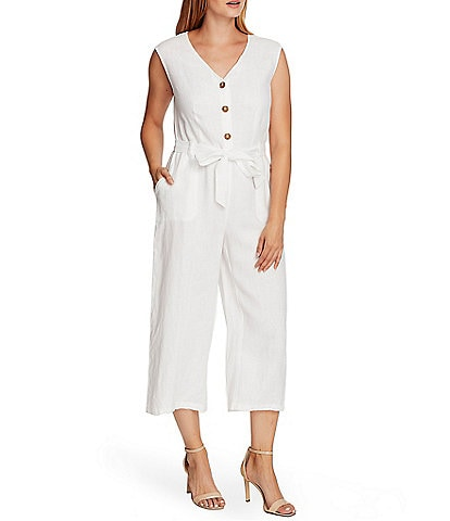 Vince Camuto Sleeveless Linen Crop Belted Wide Leg Jumpsuit