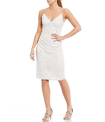 Vince Camuto Sleeveless Metallic Lace Sheath Dress
