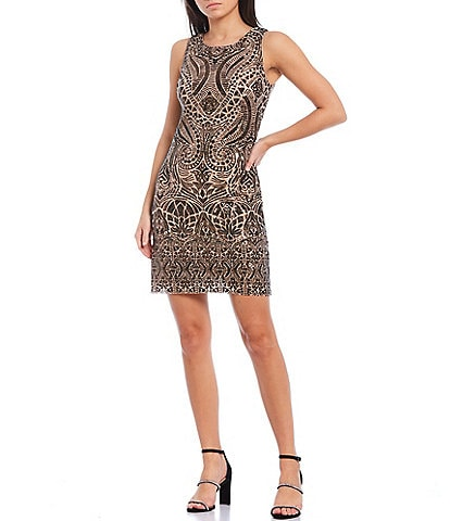 Vince Camuto Sleeveless Metallic Sequined Sheath Dress