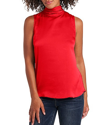 Vince Camuto Sleeveless Mock Neck Hammered Satin Blouse