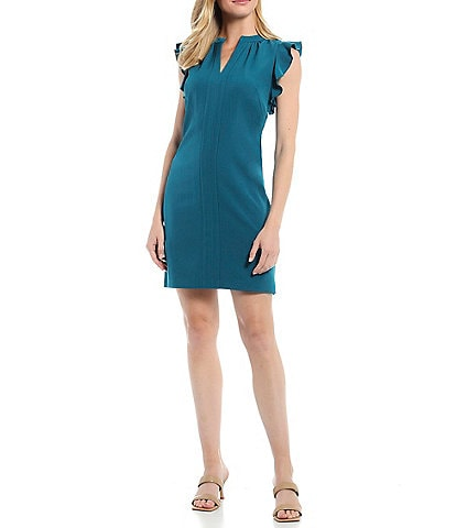 Vince Camuto Sleeveless Ruffle Crepe Dress