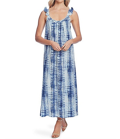 Vince Camuto Sleeveless Ruffle Strap Scoop Neck Tie-Dye Linen Blend Midi Dress