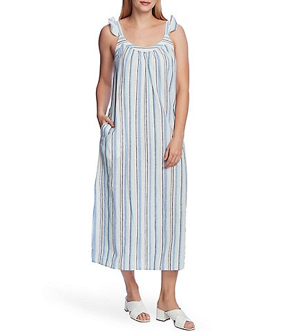 Vince Camuto Sleeveless Ruffle Strap Striped Linen Cotton Blend Midi Dress