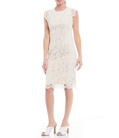 Vince Camuto Sleeveless Ruffled Lace Scallop Hem Cotton Blend Sheath Dress
