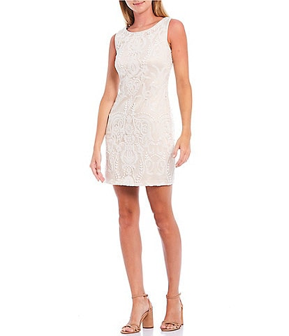 Vince Camuto Sleeveless Sequin Beaded Shift Dress