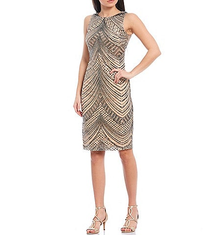 Vince Camuto Sleeveless Sequined Sheath Cocktail Dress
