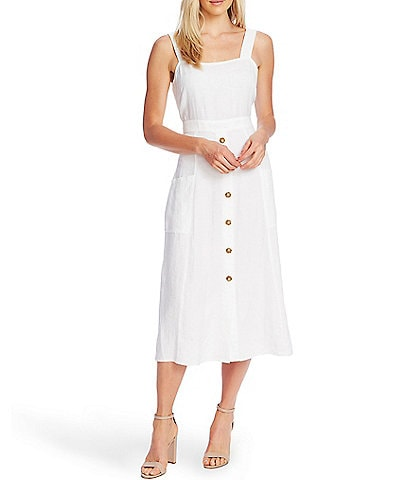 Vince Camuto Sleeveless Square Neck Button Front Linen Midi Dress
