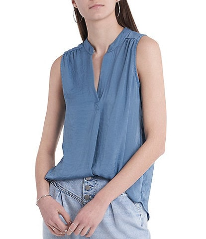 Vince Camuto Sleeveless Stand Collar Rumple Blouse