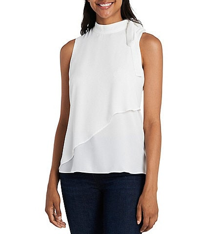 Vince Camuto Sleeveless Tie Neck Asymmetrical Layered Top