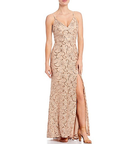 Vince Camuto Sleeveless V-Neck Sequined Lace Gown