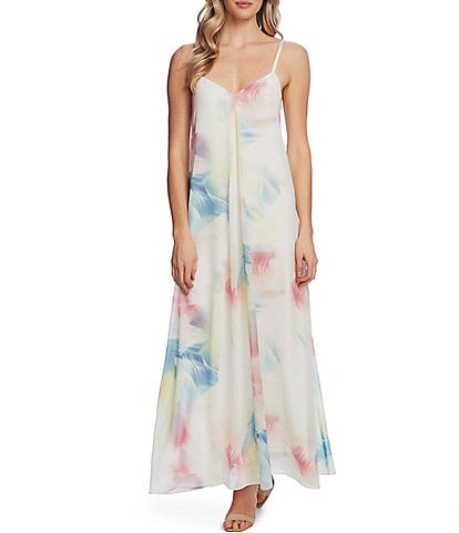 Vince Camuto Sleeveless V-Neck Tie-Dye Maxi Dress