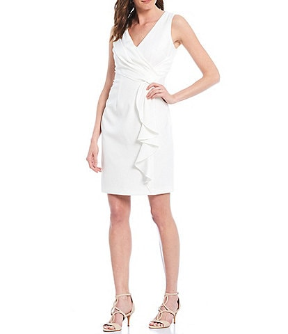 Vince Camuto Sleeveless Wrap Front Ruffled Crepe Sheath Dress