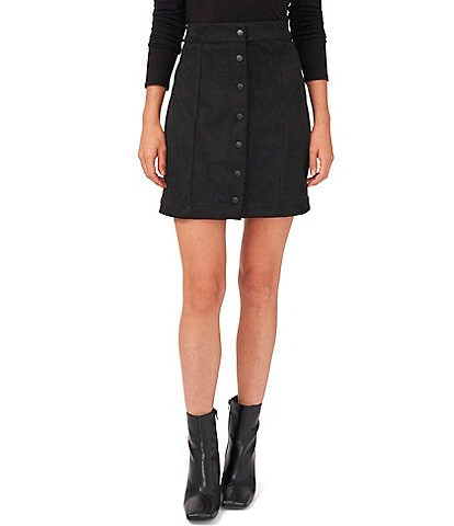 Vince Camuto Stretch Faux Suede Snap Front Mini Skirt