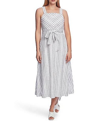 Vince Camuto Stripe Square Neck Sleeveless Linen Cotton Blend Tie Waist Dress