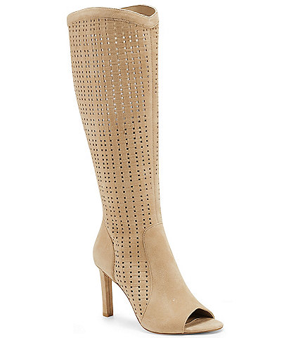 Vince Camuto Suede Shelrica Woven Knee High Western Inspired Peep Toe Boots