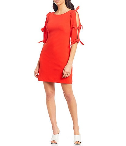 Vince Camuto Tie Bell Sleeve Crepe Ponte Shift Dress