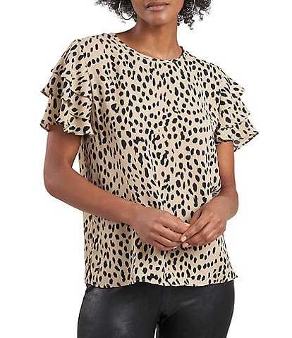 Vince Camuto Tiered Short Sleeve Leopard Print Blouse