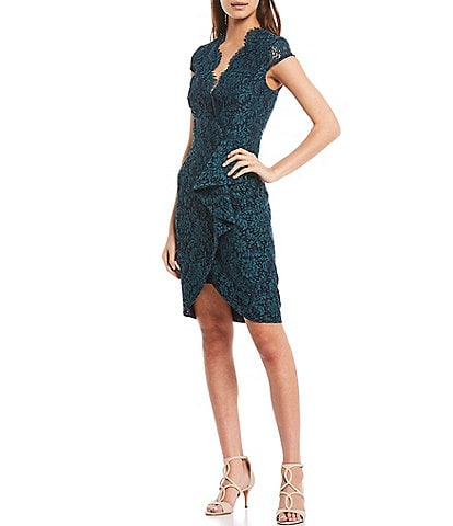 Vince Camuto V-Neck Cap Sleeve Front Ruffle Lace Sheath Dress