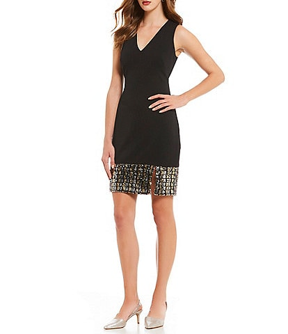 Vince Camuto V-Neck Sequin Hem Sheath Dress