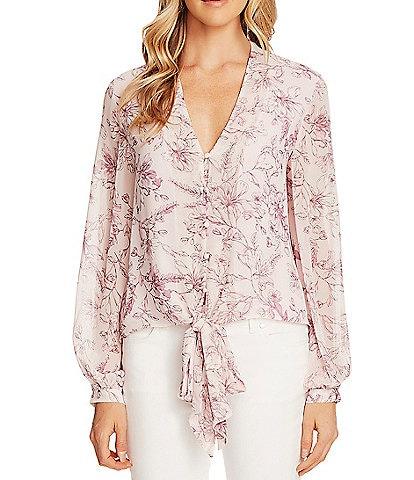 Vince Camuto V-Neck Long Bubble Sleeve Floral Tie Front Blouse