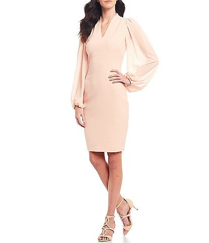 Vince Camuto V-Neck Long Chiffon Sleeve Crepe Sheath Dress