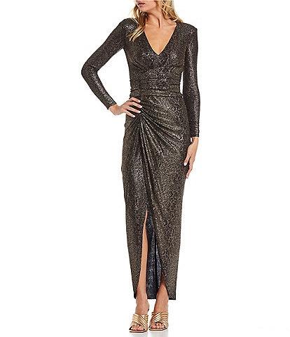Vince Camuto V-Neck Long Sleeve Shirred Metallic Snakeskin Knit Sheath Gown