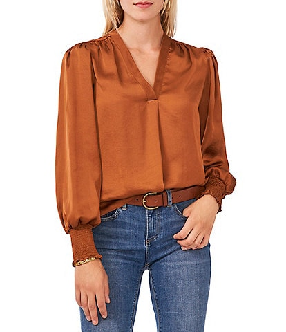 Vince Camuto V-Neck Long Sleeve Smocked Cuff Rumple Blouse