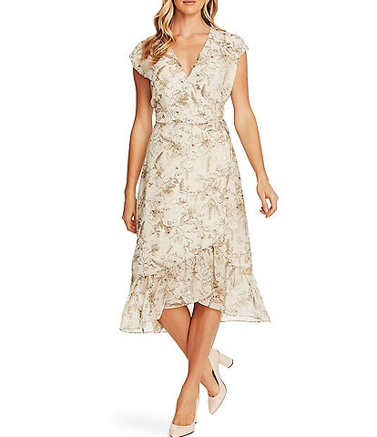 Vince Camuto V-Neck Cap Sleeve Asymmetric Hem Floral Midi Wrap Dress