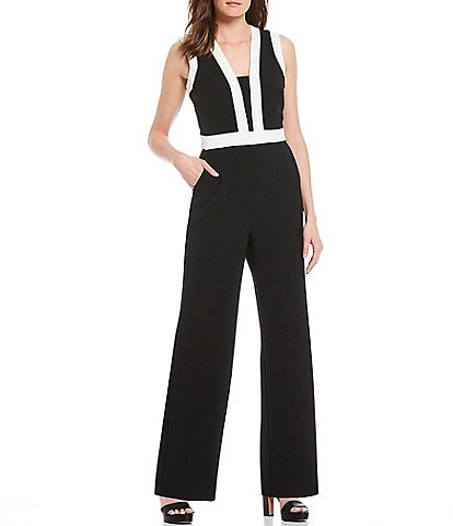 Vince Camuto V-Neck Sleeveless Colorblock Jumpsuit