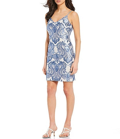 Vince Camuto V-Neck Sleeveless Paisley Sequined Sheath Dress