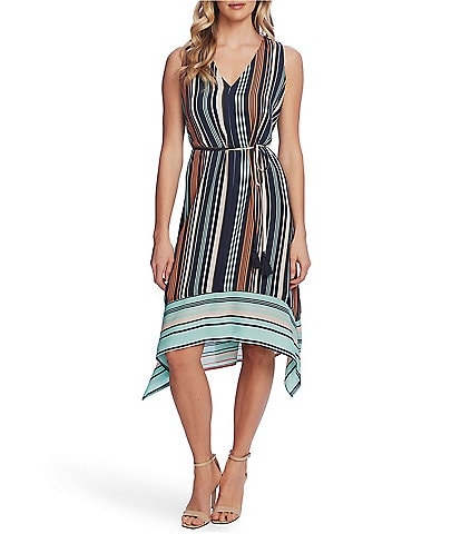 Vince Camuto V-Neck Sleeveless Striped Tie Waist Sharkbite Hem Midi Dress