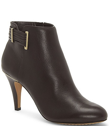 Vince Camuto Vinisha Leather Side Zip Buckle Detail Ankle Booties