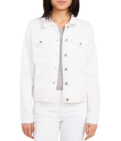 Vince Camuto White Denim Button Front Jacket
