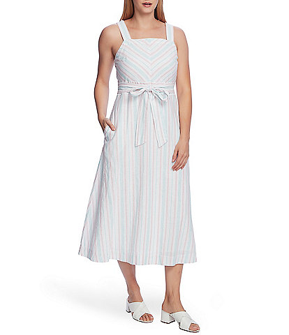 Vince Camuto Wide Over-The-Shoulder Strap Sleeveless Tie Waist Surfboard Stripe Midi Dress
