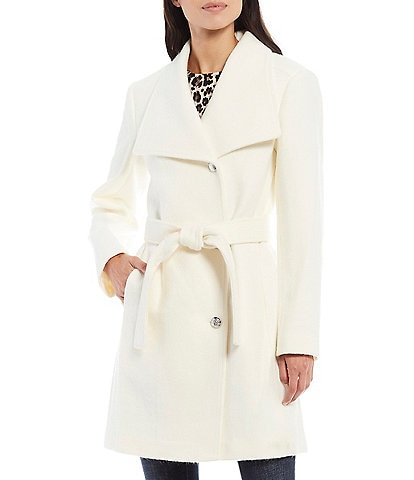 Vince Camuto Wing Collar Single Breasted Pearl Button Trench Coat