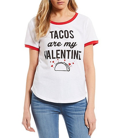 Vinyl Icons Tacos Are My Valentine Graphic Ringer Tee