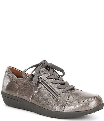 Vionic Abigail Pewter Lace-Up Side Zipper Sneakers