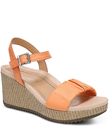 Vionic Aileen Ruched Croco Leather Wedge Sandals