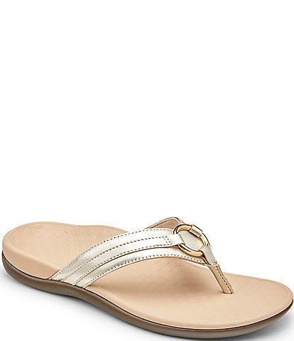 Vionic Aloe Metallic Leather Embellished Thong Sandals