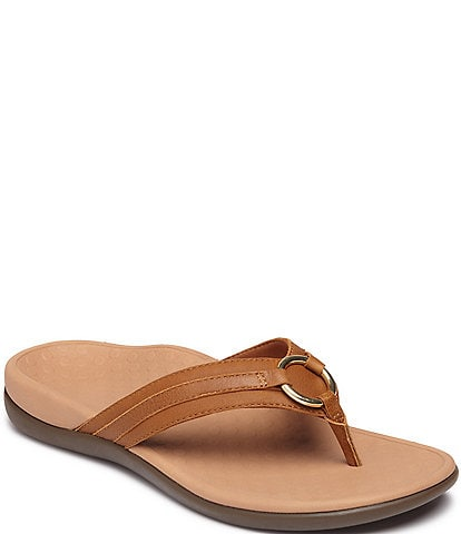 Vionic Aloe Leather Thong Sandals