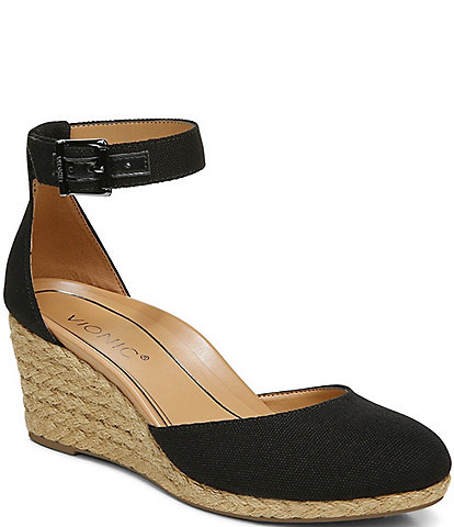 Vionic Amy Canvas Ankle Strap Wedge Espadrilles