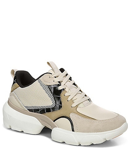 Vionic Aris Crocodile Leather Lace-Up Sneakers