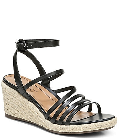 Vionic Ayda Leather Ankle Strap Wedge Espadrille Sandals