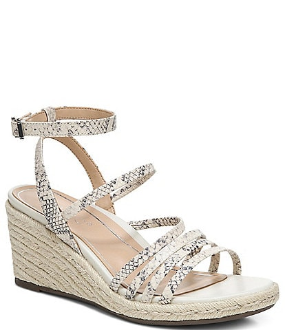Vionic Ayda Snake Embossed Leather Ankle Strap Wedge Espadrille Sandals