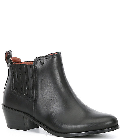 Vionic Bethany Leather Waterproof Block Heel Western Booties