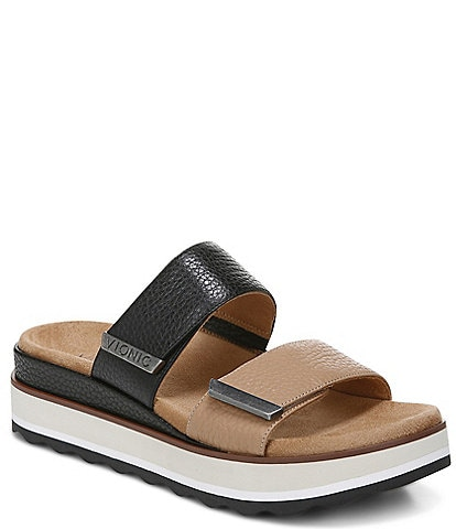 Vionic Brandie Slide Leather Banded Strap Wedge Sandals