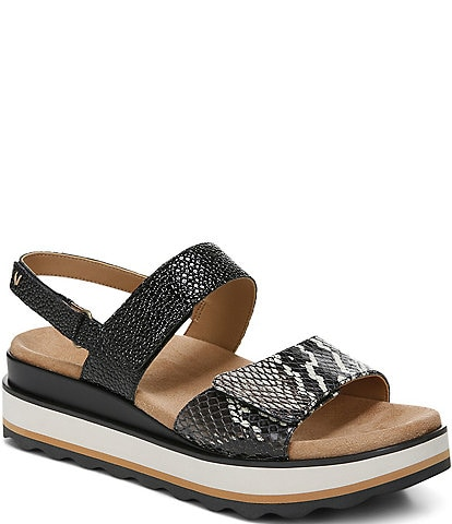 Vionic Brielle Snake Print Wedge Platform Sandals