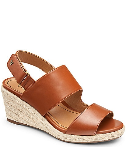 Vionic Brooke Leather Banded Espadrille Wedges