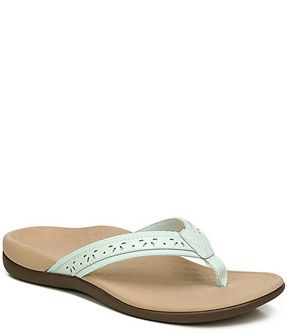 Vionic Casandra Perforated Leather Thong Sandals